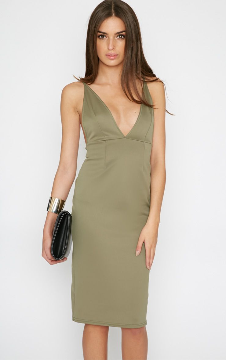 Kavita Khaki Cross Back Plunge Midi Dress 1