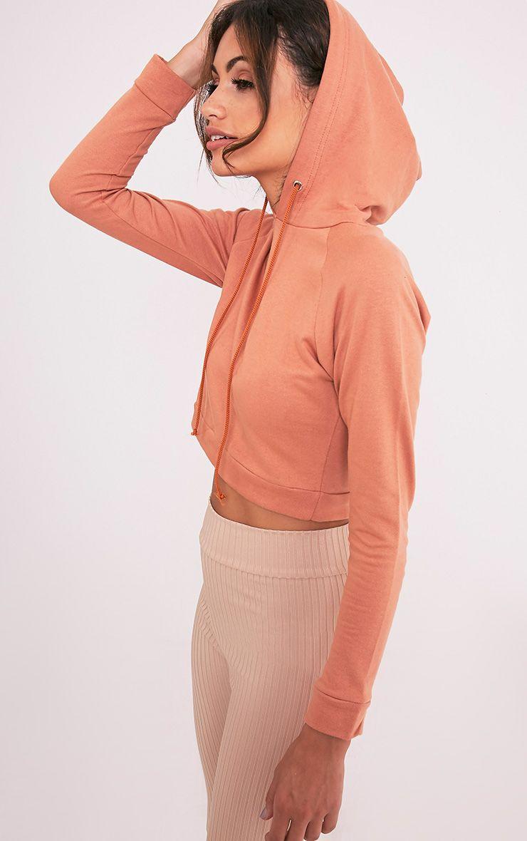 Lucida Deep Peach Longsleeve Crop Hoodie 1