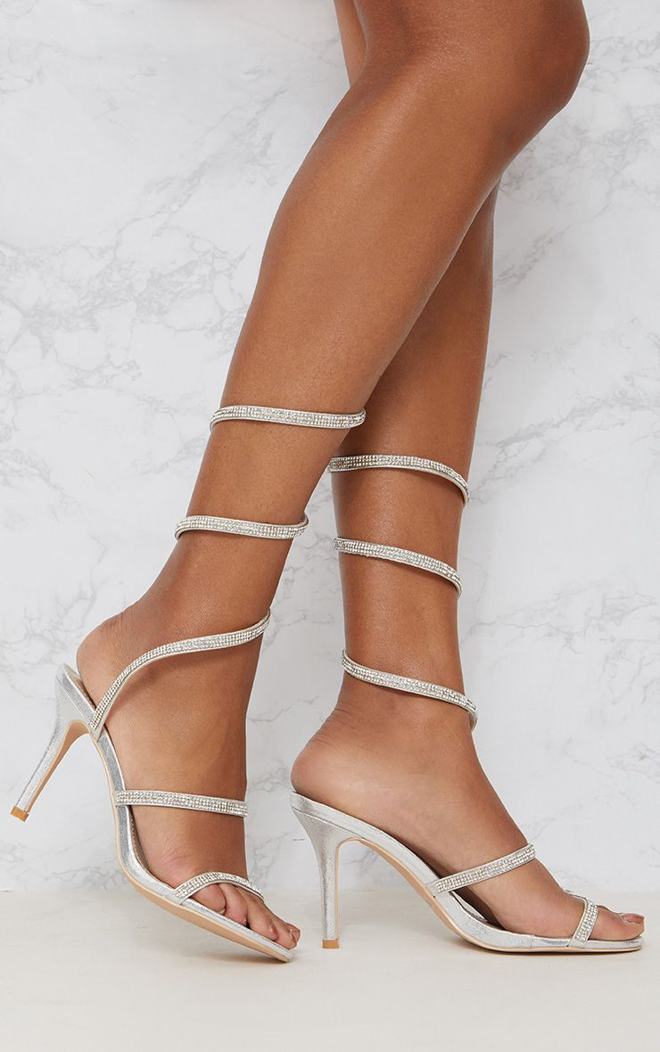 Silver Diamante Leg Wrap Heeled Sandal