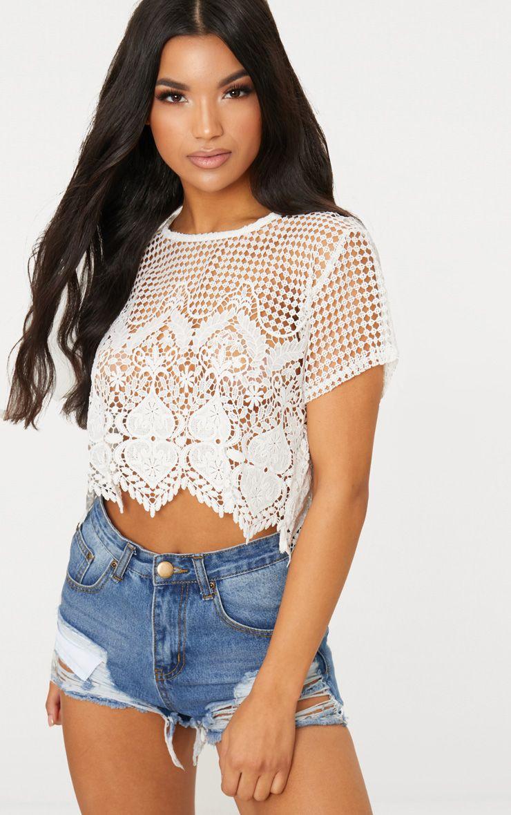 White Crochet Detail High Neck Crop Top
