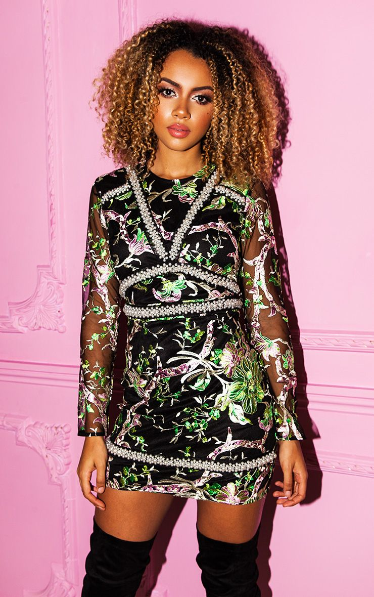 Premium Green Embroidered Floral Long Sleeve Bodycon Dress