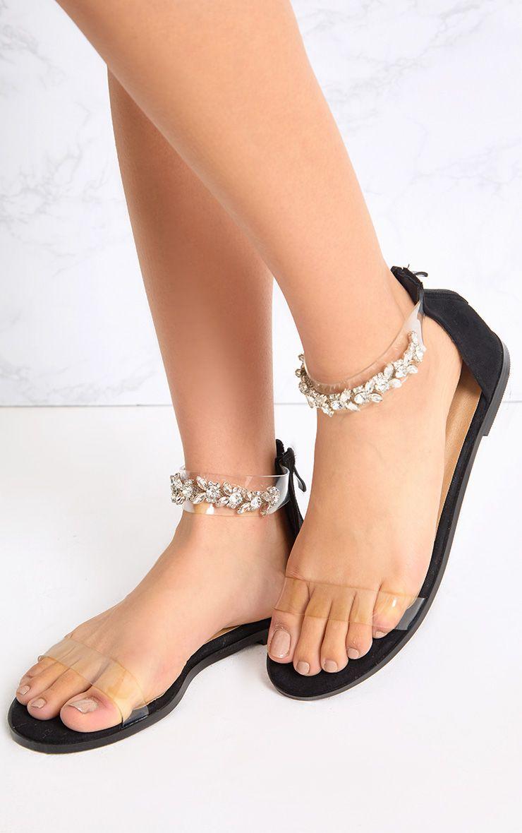 Nakita sandales noires à brides ornées de bijoux aux chevilles