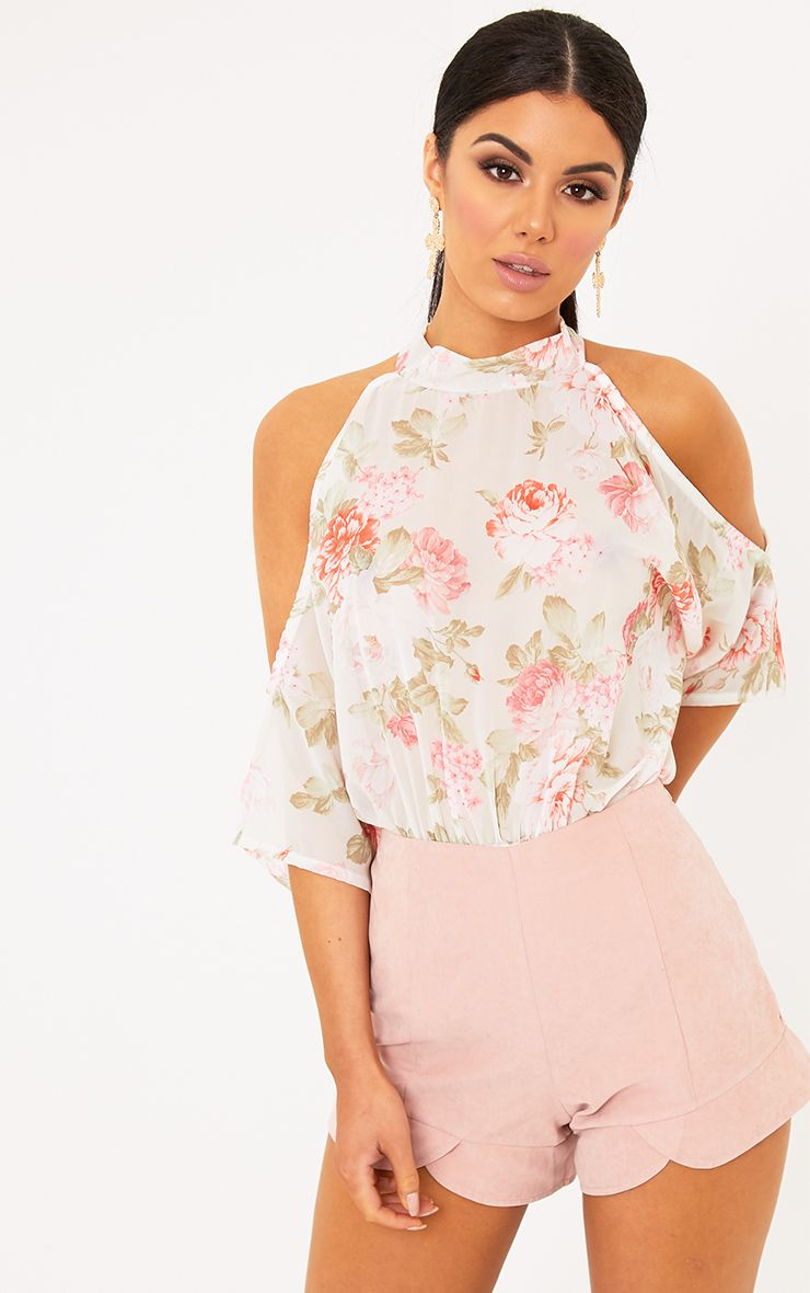Marci White Floral Print Woven Cold Shoulder Thong Bodysuit