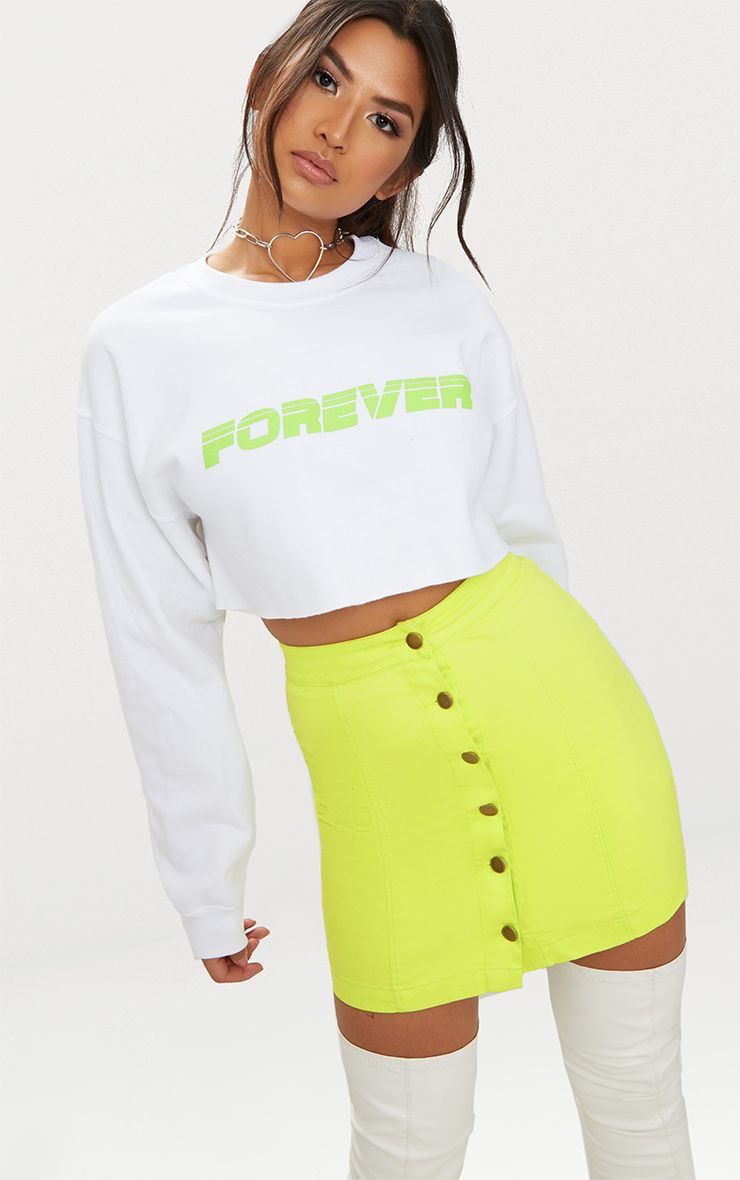 Lime Cammie Denim Mini Skirt