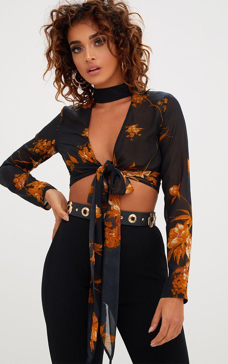 Beckette Black Floral Print Choker Tie Blouse