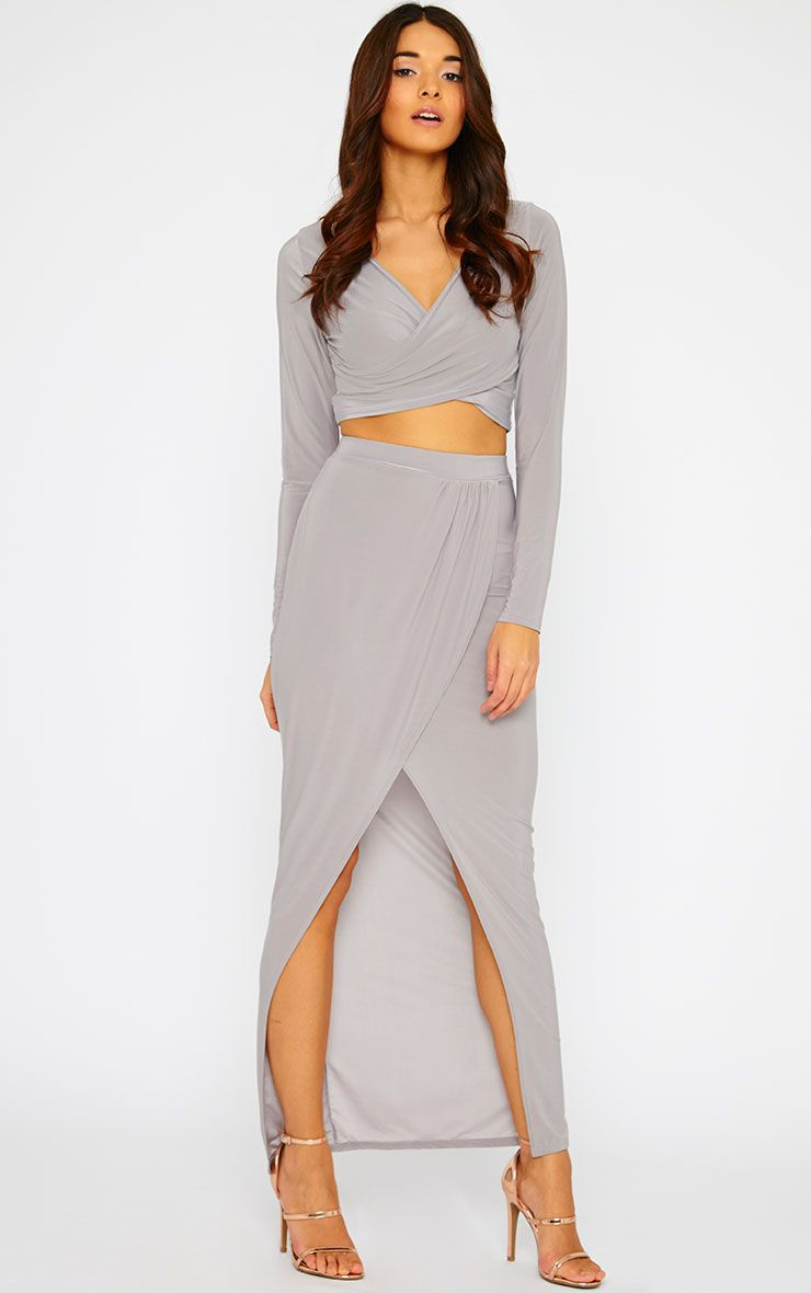 Ginevia Grey Slinky Split Hem Maxi Skirt 1