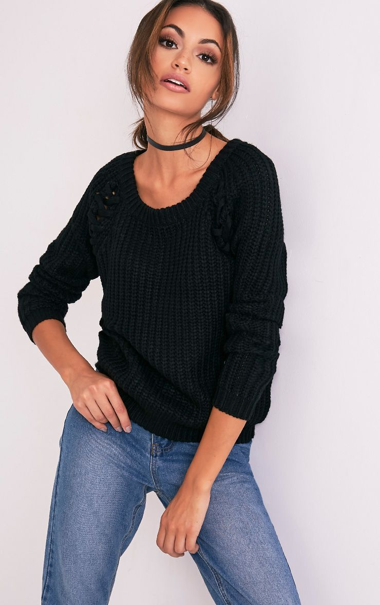 lolanne Black Lace Up Detail Chunky Knit Jumper