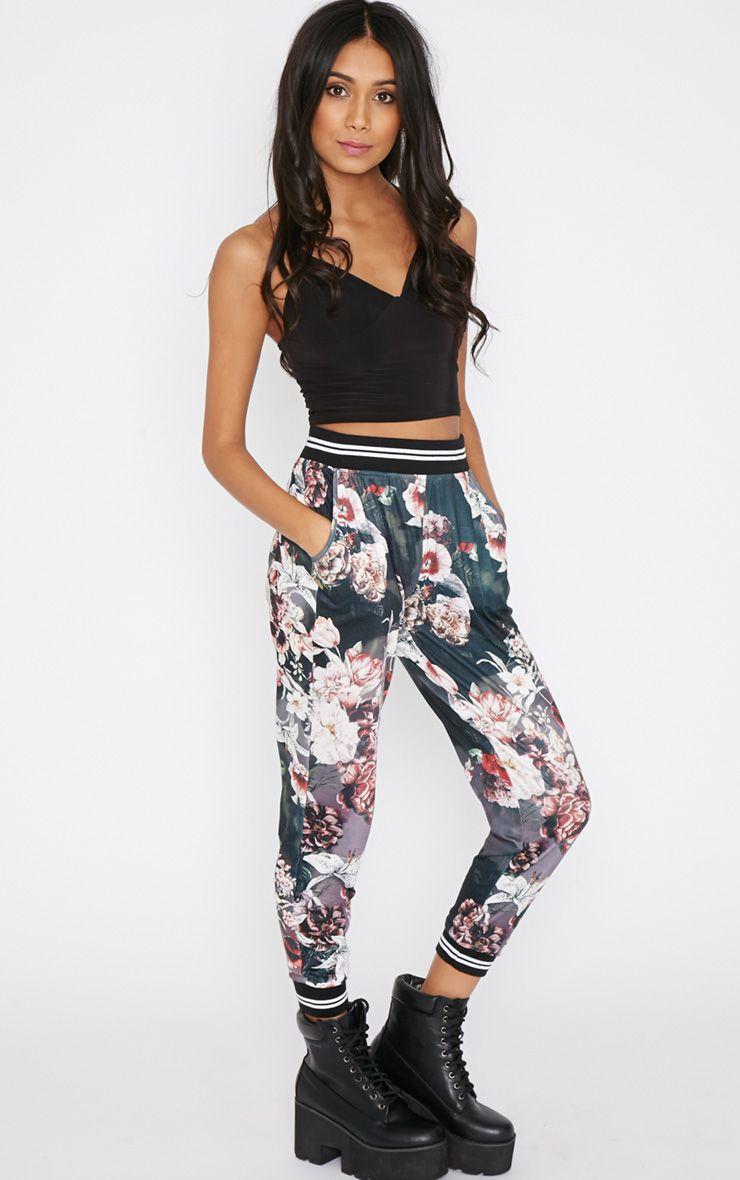 Marie Black Floral Trouser  1