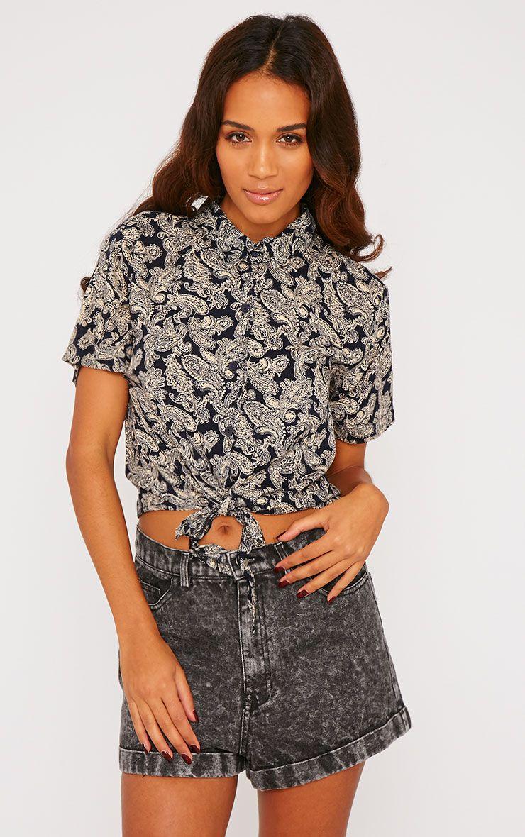Arizona Black Paisley Tie Front Crop Shirt 1