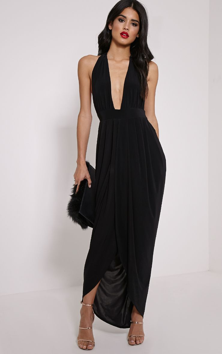 Biba Black Halterneck Slinky Maxi Dress 1