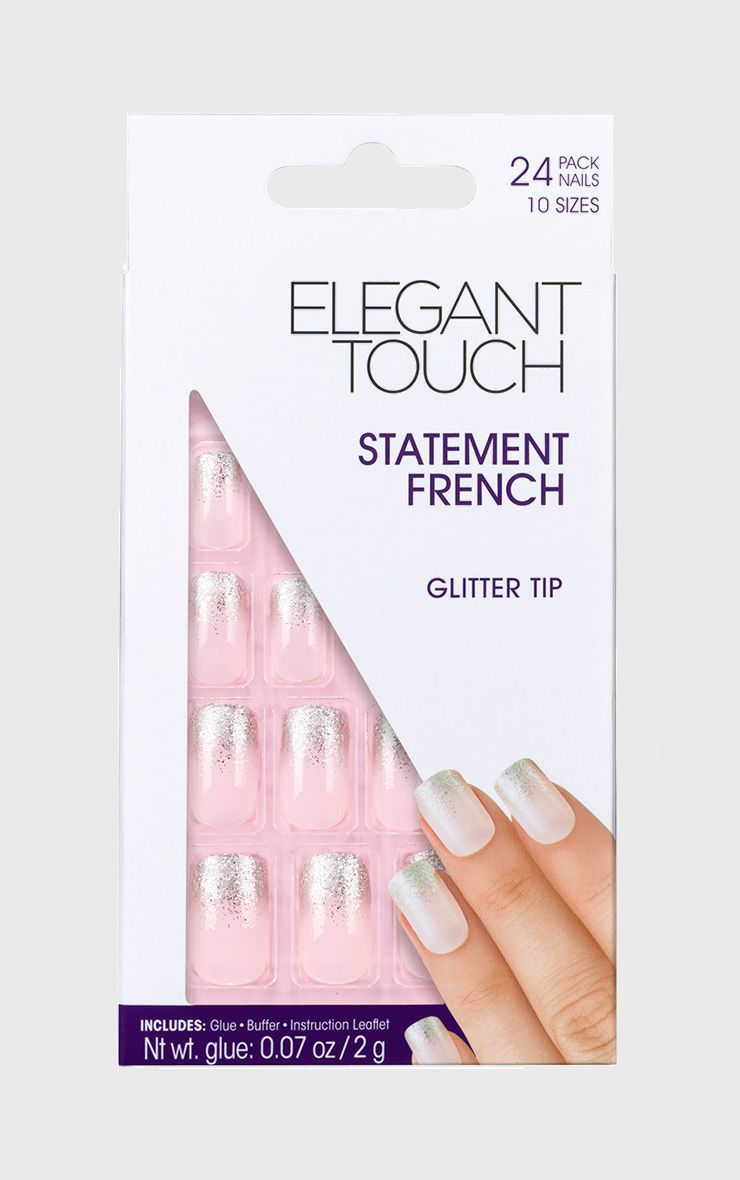 Elegant Touch French Nails With Glitter Tip