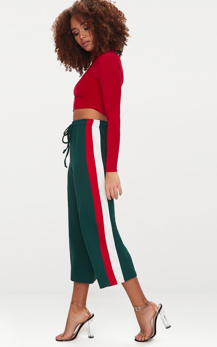 Emerald Green Side Stripe Drawstring Culottes 1