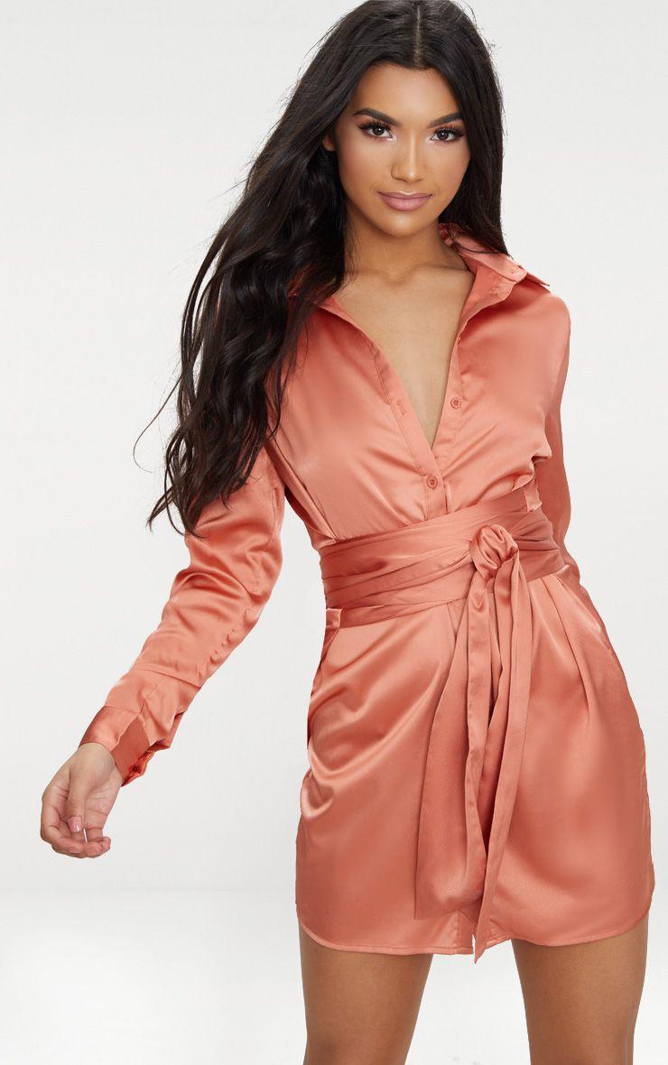 Copper Satin Tie Waist Shirt Dress