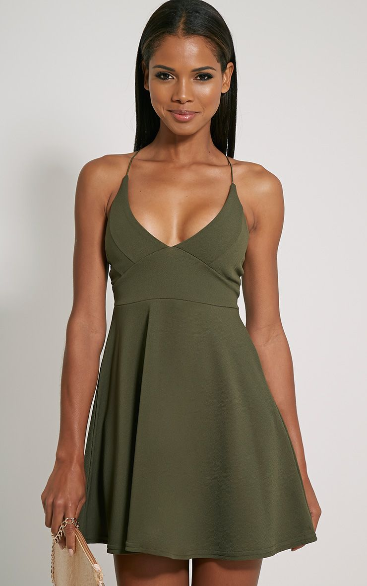 Luccie Khaki Crepe Skater Dress 1