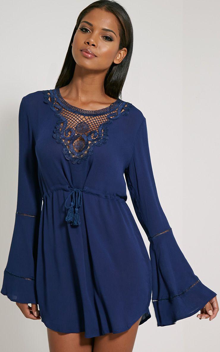 Earnestine Tie Waist Bell Sleeve Dress 1