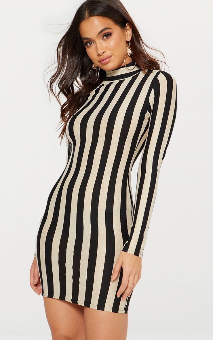 Gold High Neck Glitter Striped Bodycon Dress