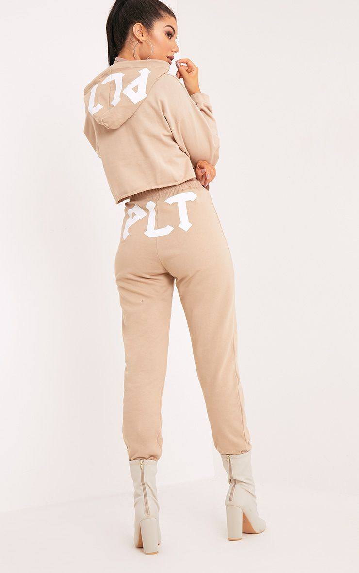PLT Slogan Taupe Extreme Cropped Hoodie