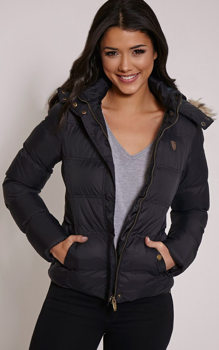 Victoria Black Faux Fur Hooded Puffa Jacket 1