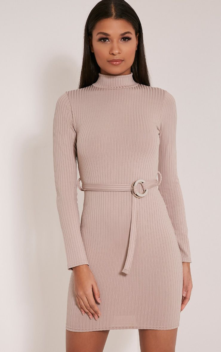Mya Taupe Belt Detail Ribbed Bodycon Dress 1