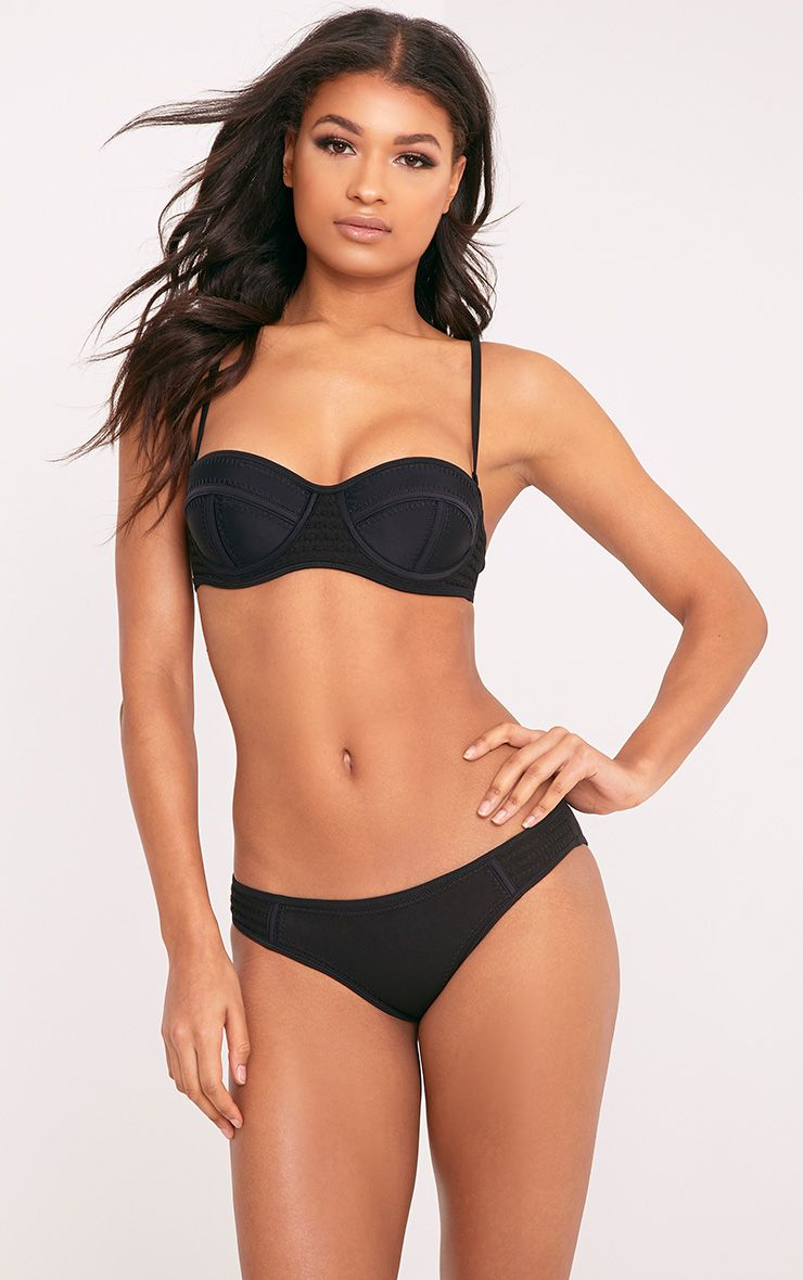 Lynn Black Crochet And Stitch Trim Bikini Set