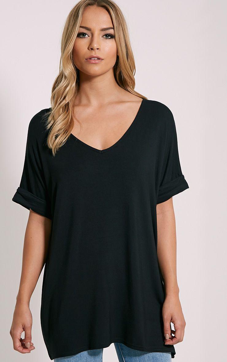 Basic Black V Neck Oversized T-Shirt 1
