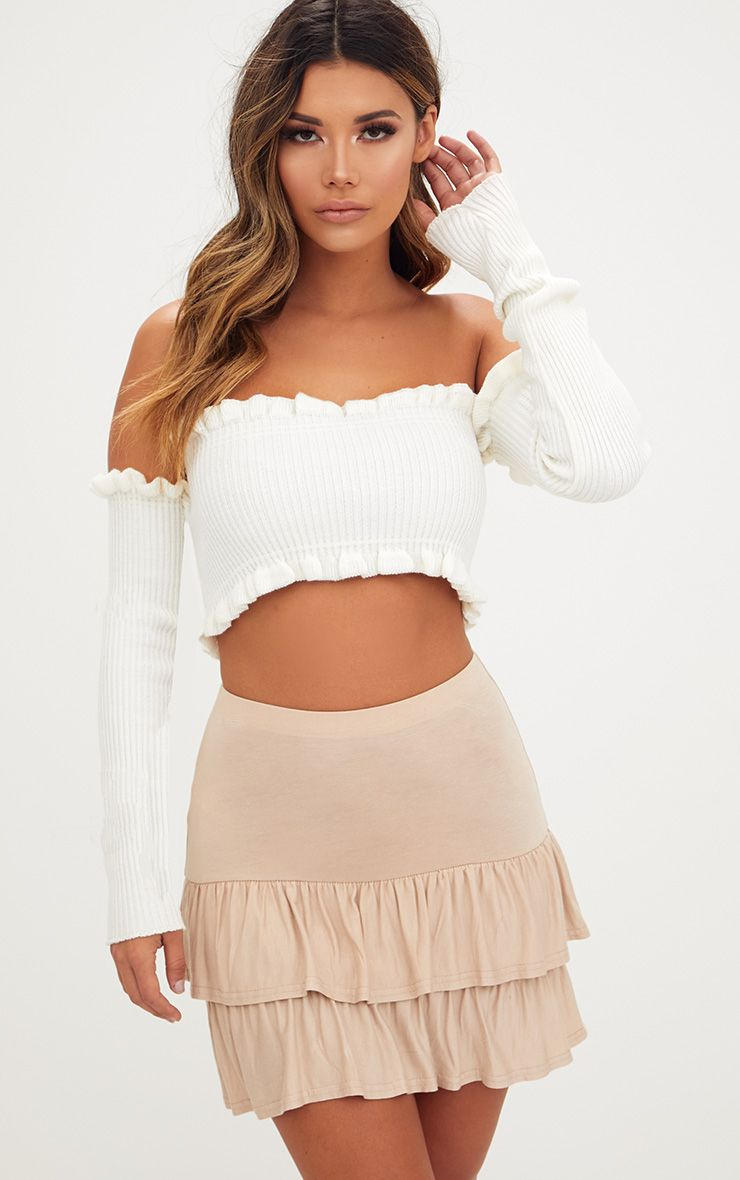 Stone Tiered Frill Jersey Mini Skirt