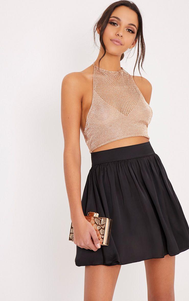 Ostara Black Floaty Satin Mini Skirt