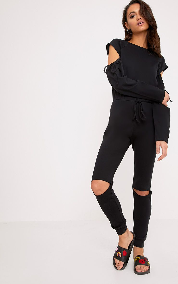 Lindsey Black Sweater Cold Shoulder Ripped Knee Jumpsuit