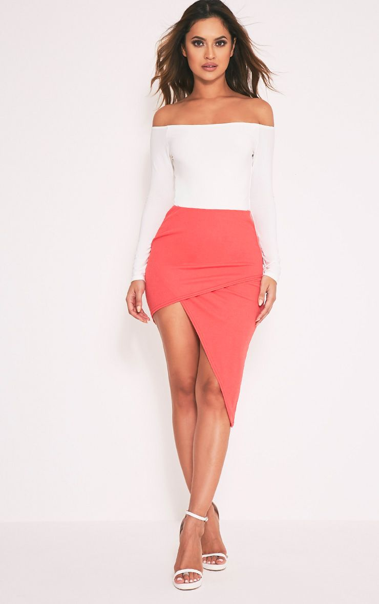 Chloe Coral Asymmetric Hem Midi Skirt 1