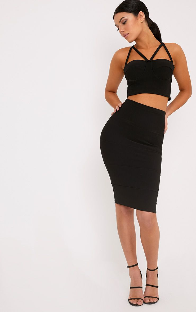Lindy Black Bandage Panelled Midi Skirt