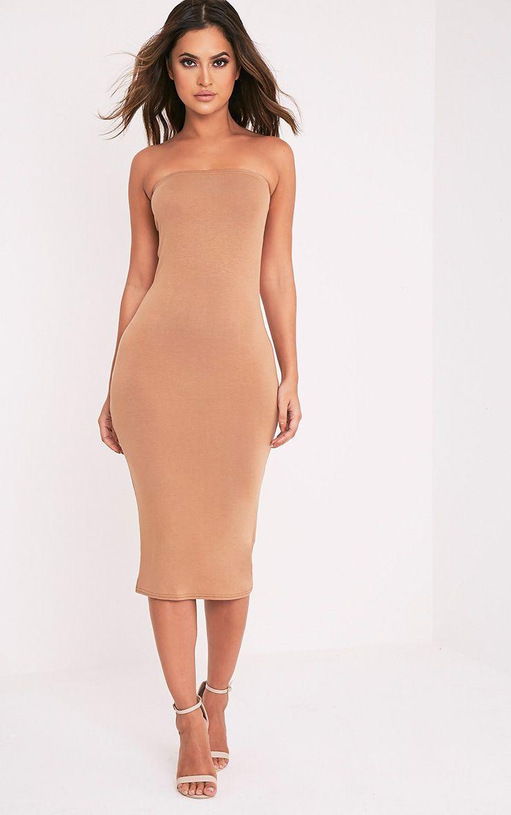 Basic Camel Jersey Bandeau Midi Dress 1