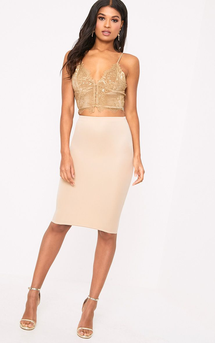 Winnie Beige Scuba Midi Skirt