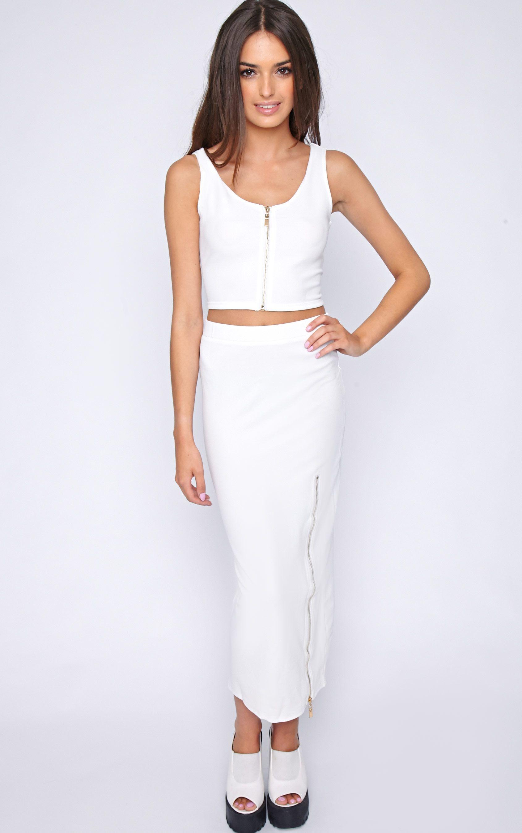 Kadence White Zip Front Maxi Skirt  1