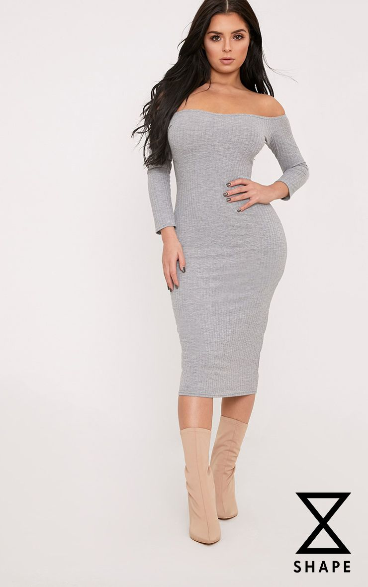 Shape Ailanna Grey Ribbed Midi Bardot Dress  1