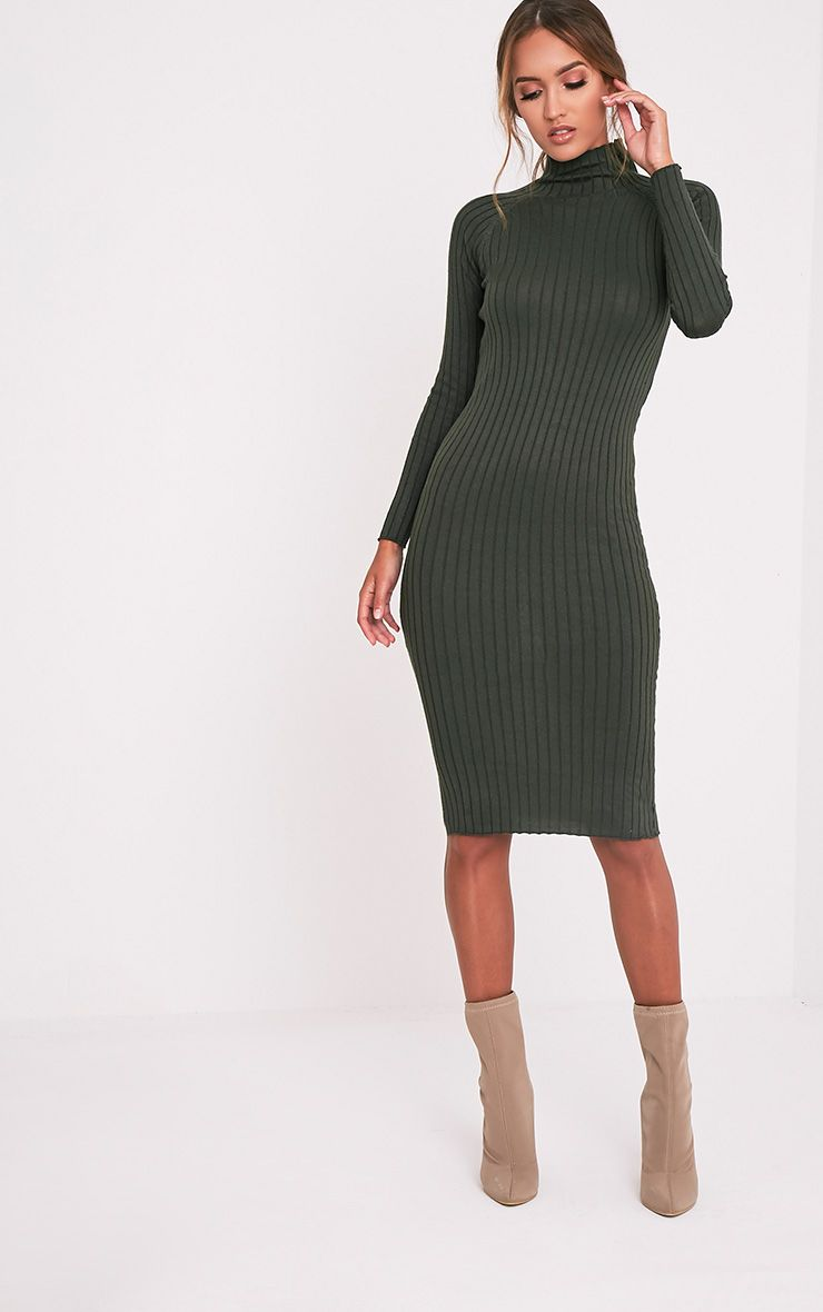 Katalina Khaki Wide Ribbed Knitted Midi Dress