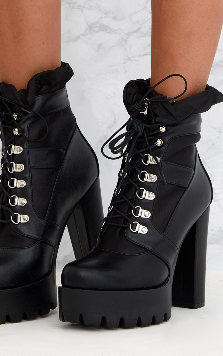 Black Ruched Lace Up Platform Ankle Boots Shoes