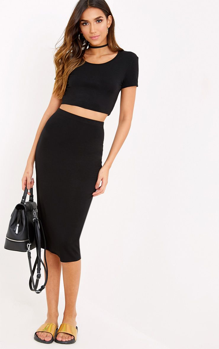 Anaceila Black Jersey Top & Midi Skirt Set