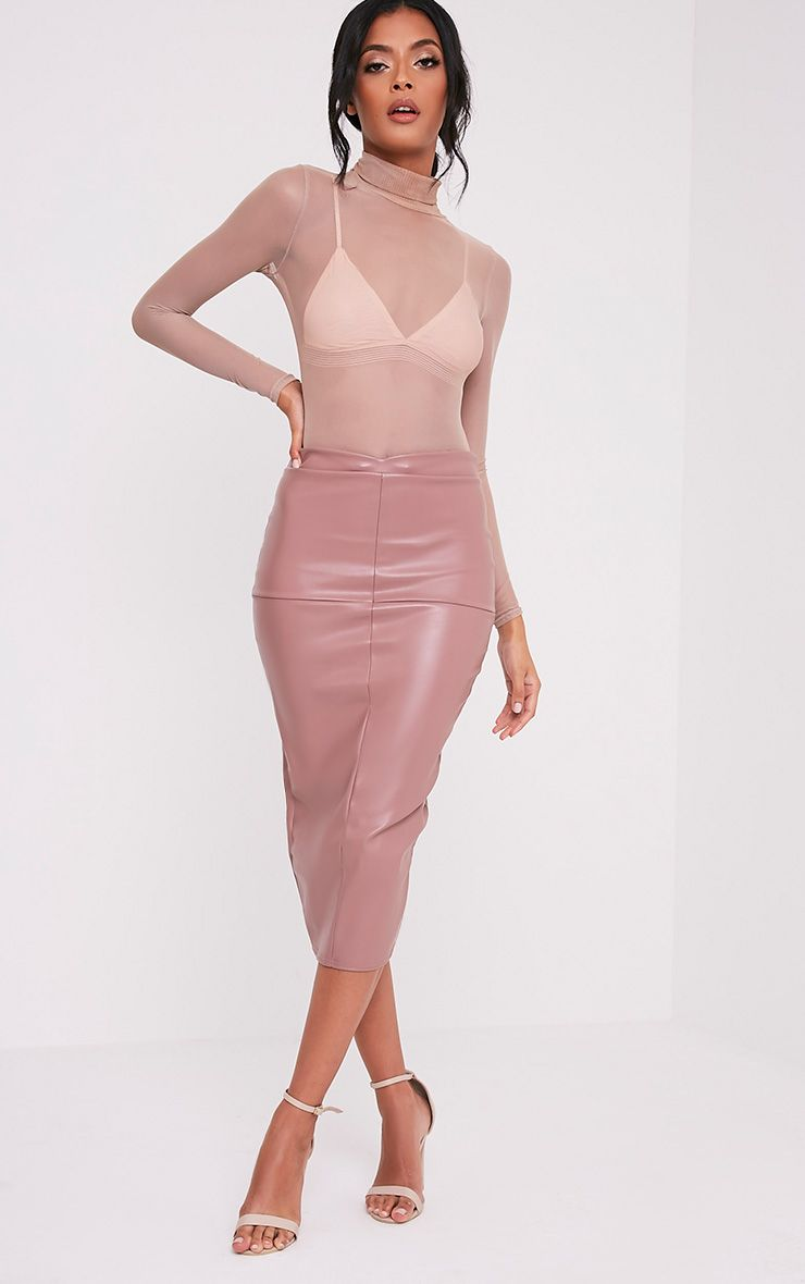 Eva Rose Faux Leather Panel Midi Skirt