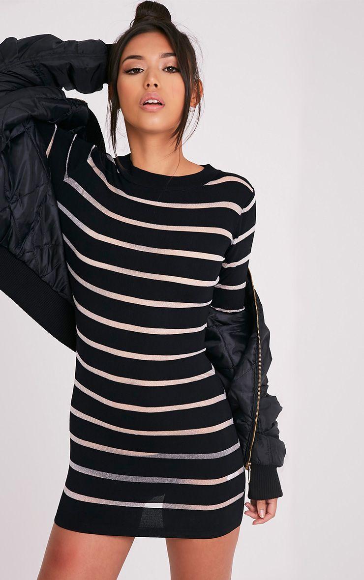 Jamesina robe mini tricotée à empiècements en tulle noire 1