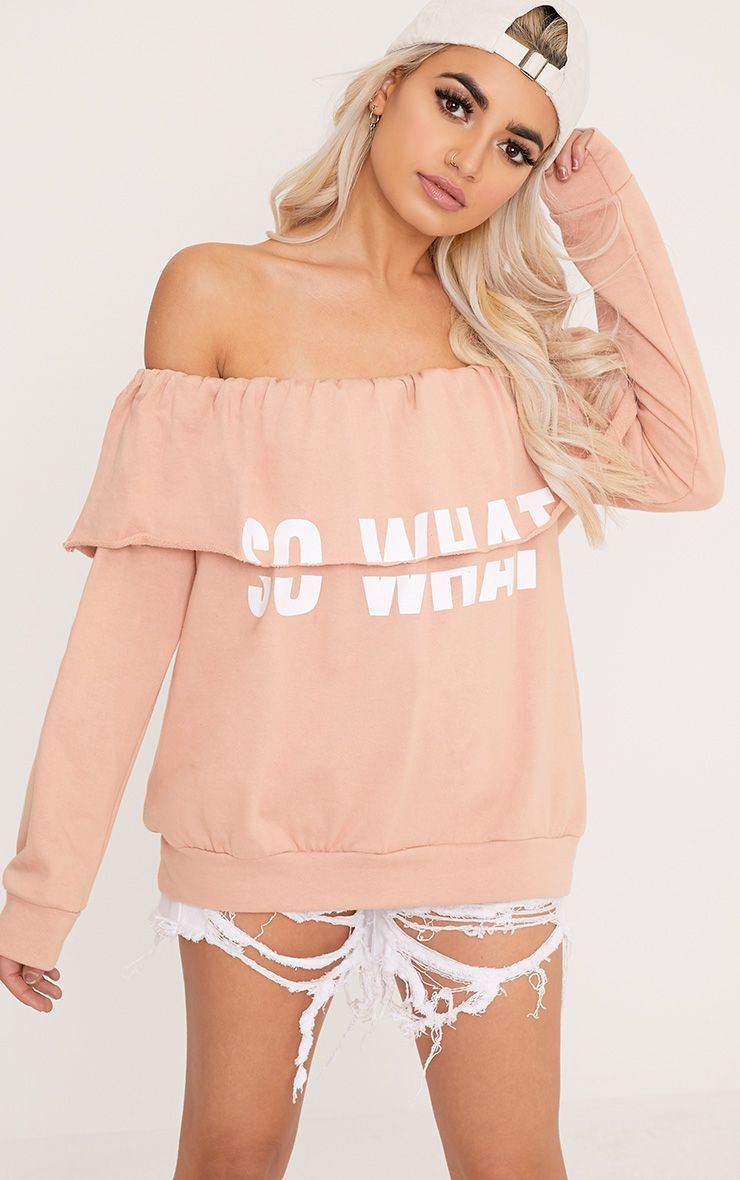 SO WHAT Slogan Dusty Coral Bardot Oversized Sweater