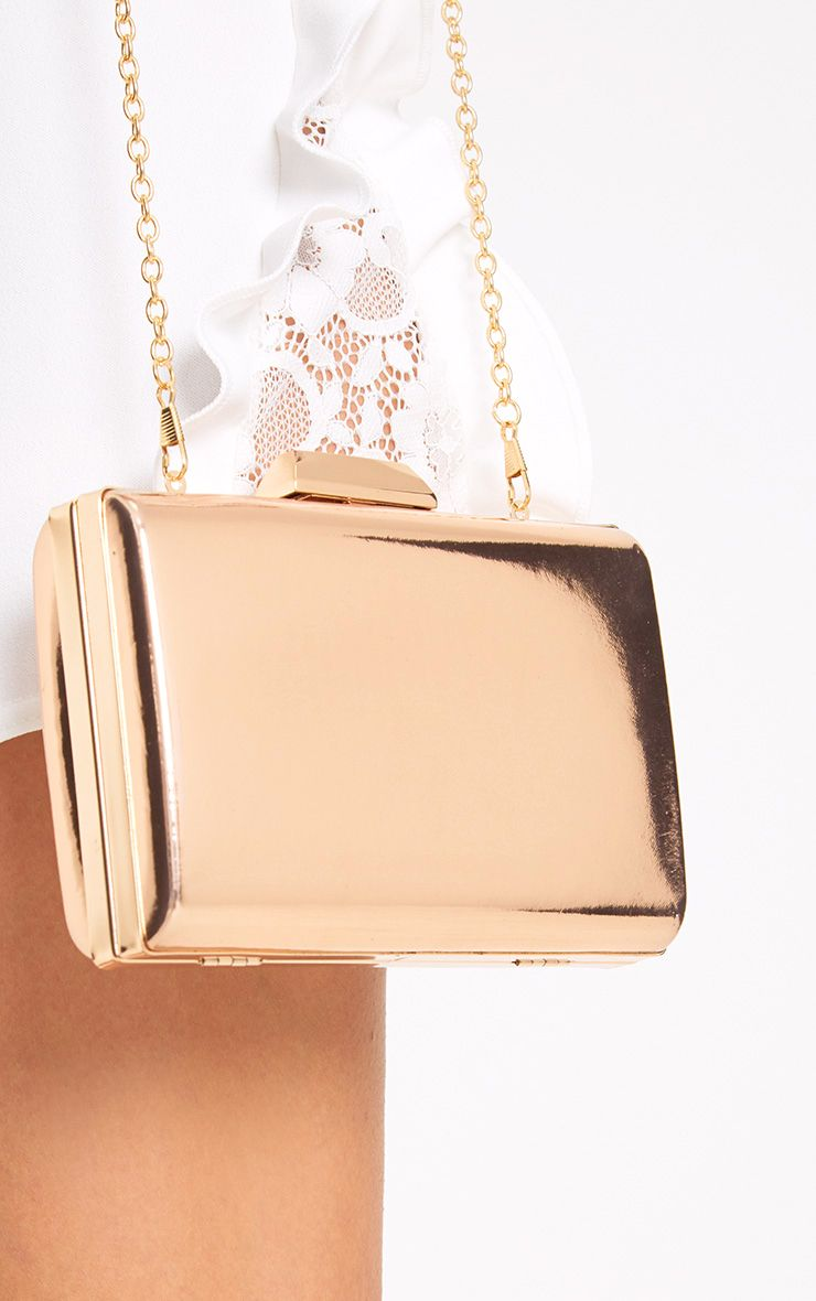Rose Gold Metallic Clutch