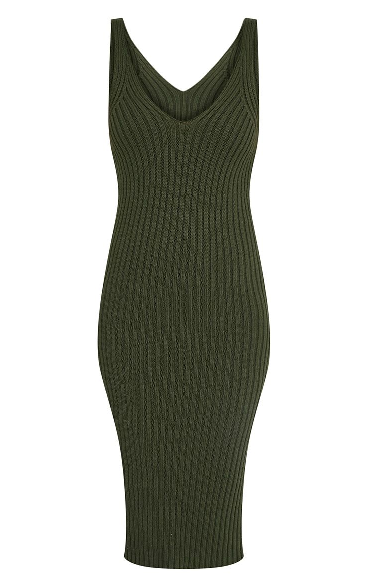 Nimah Khaki Ribbed Vest Knitted Midi Dress 4