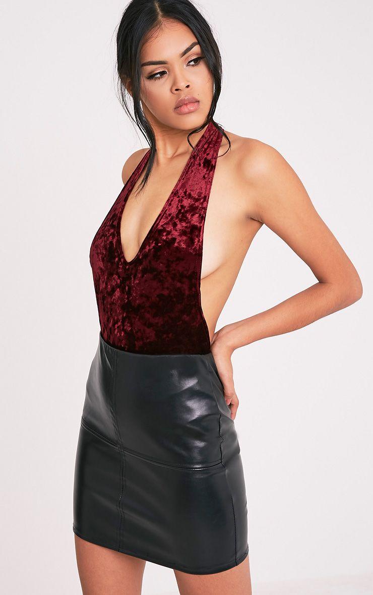 Delisa Berry Velvet Halterneck Thong Bodysuit