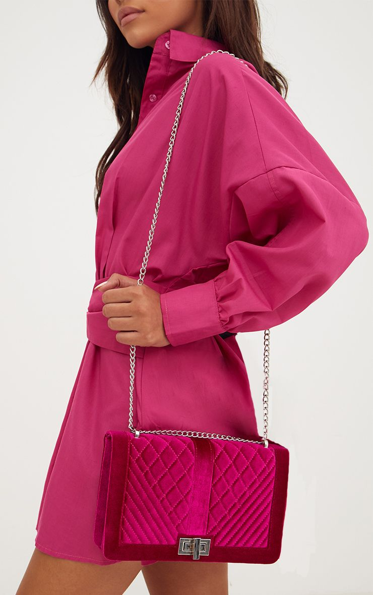 Magenta Velvet Quilted Shoulder Bag
