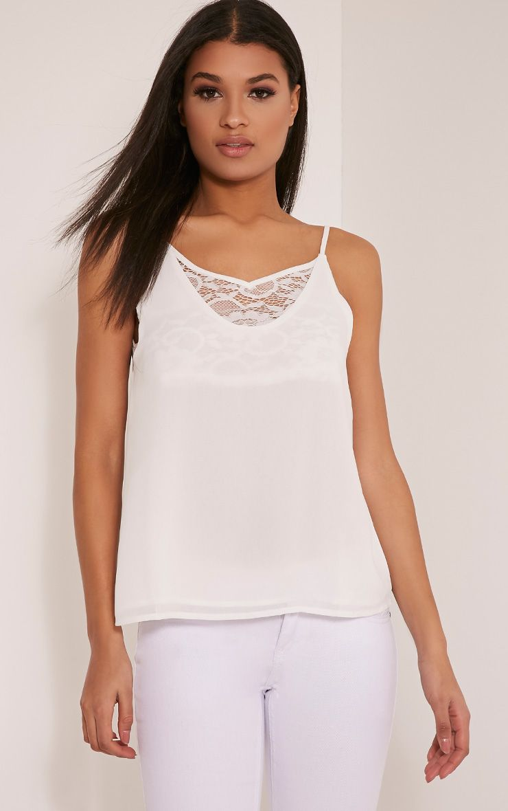 Sienna White Lace Insert Cami Top