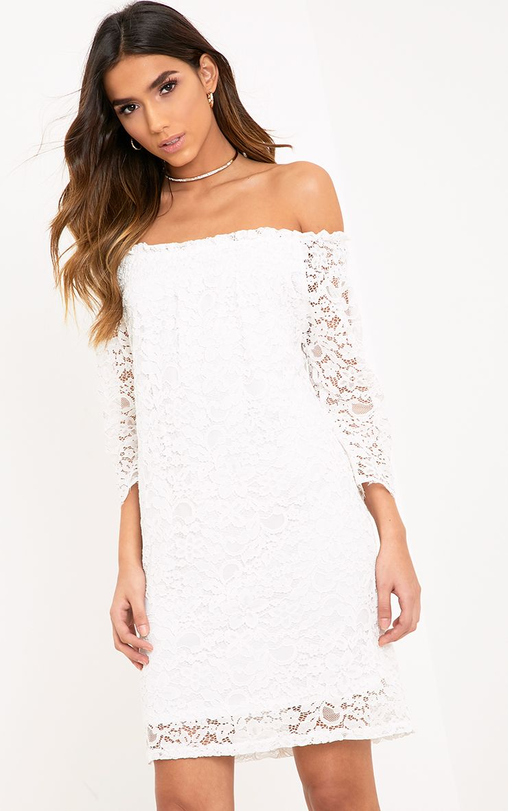 Cora White Lace Bardot Shift Dress