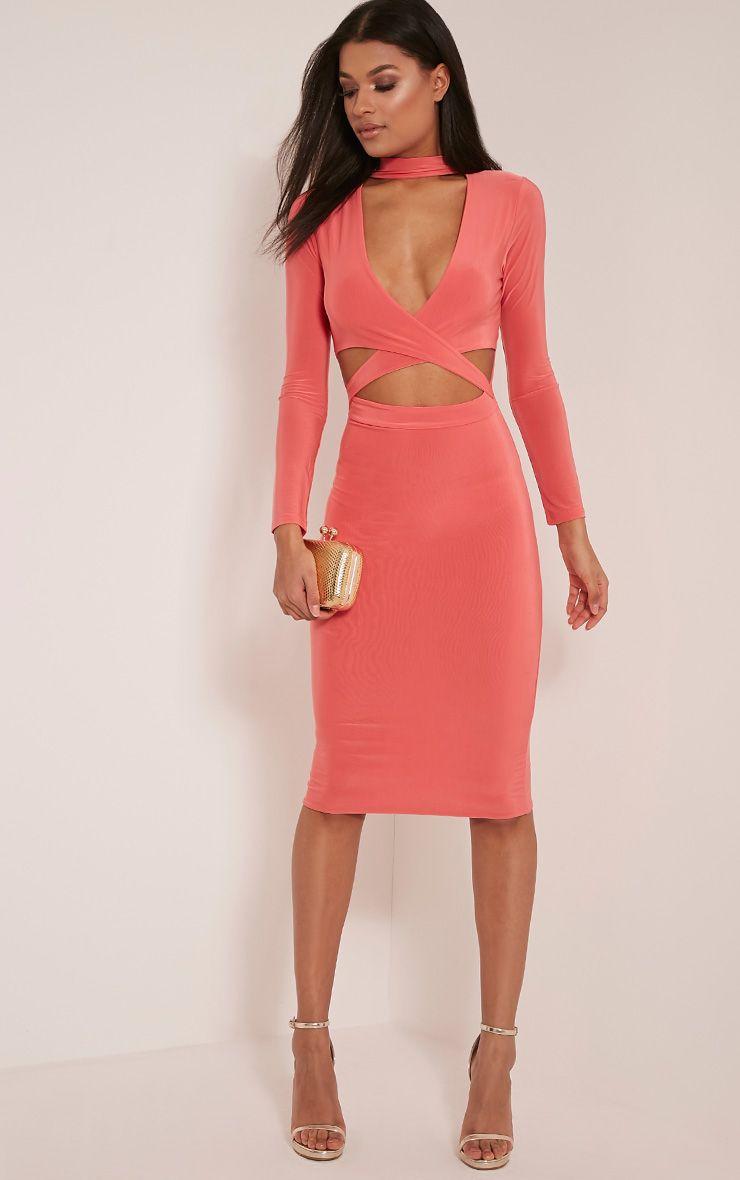 Nadeena Coral Neck Detail Cut Out Midi Dress 1