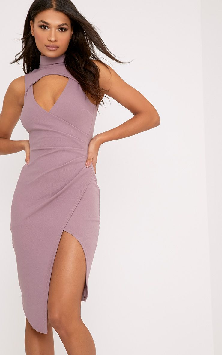 Laverna Dark Mauve High Neck Cut Out Wrap Over Midi Dress