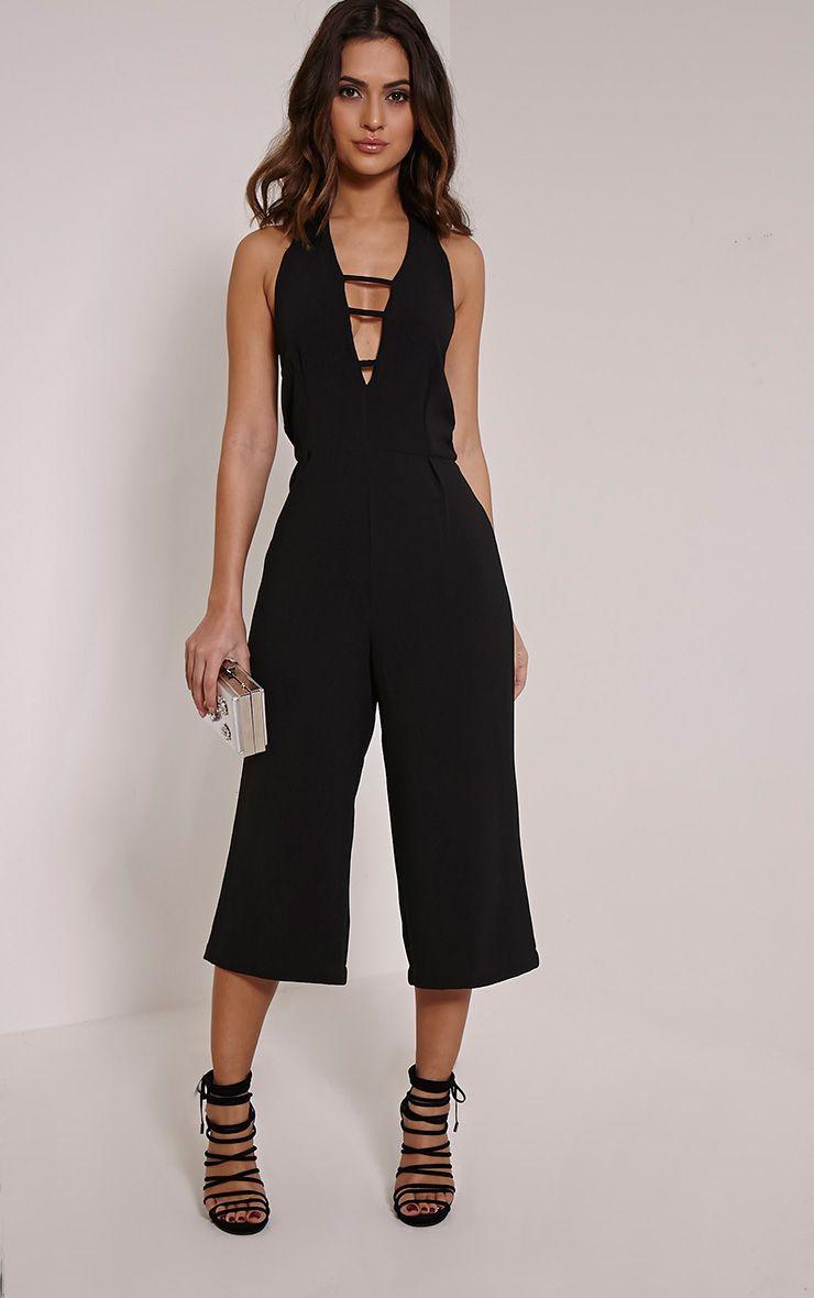 Rena Black Strap Detail Culotte Jumpsuit 1