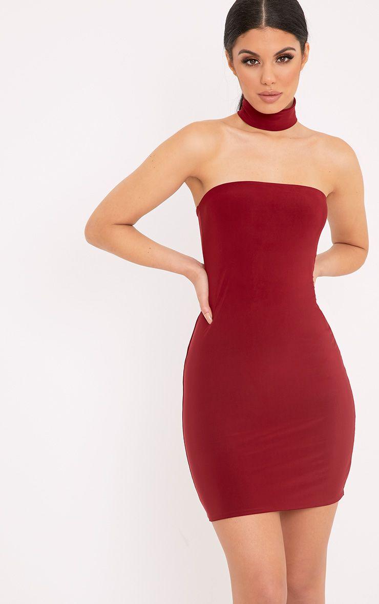 Charlotte Burgundy Slinky Choker Bandeau Bodycon Dress